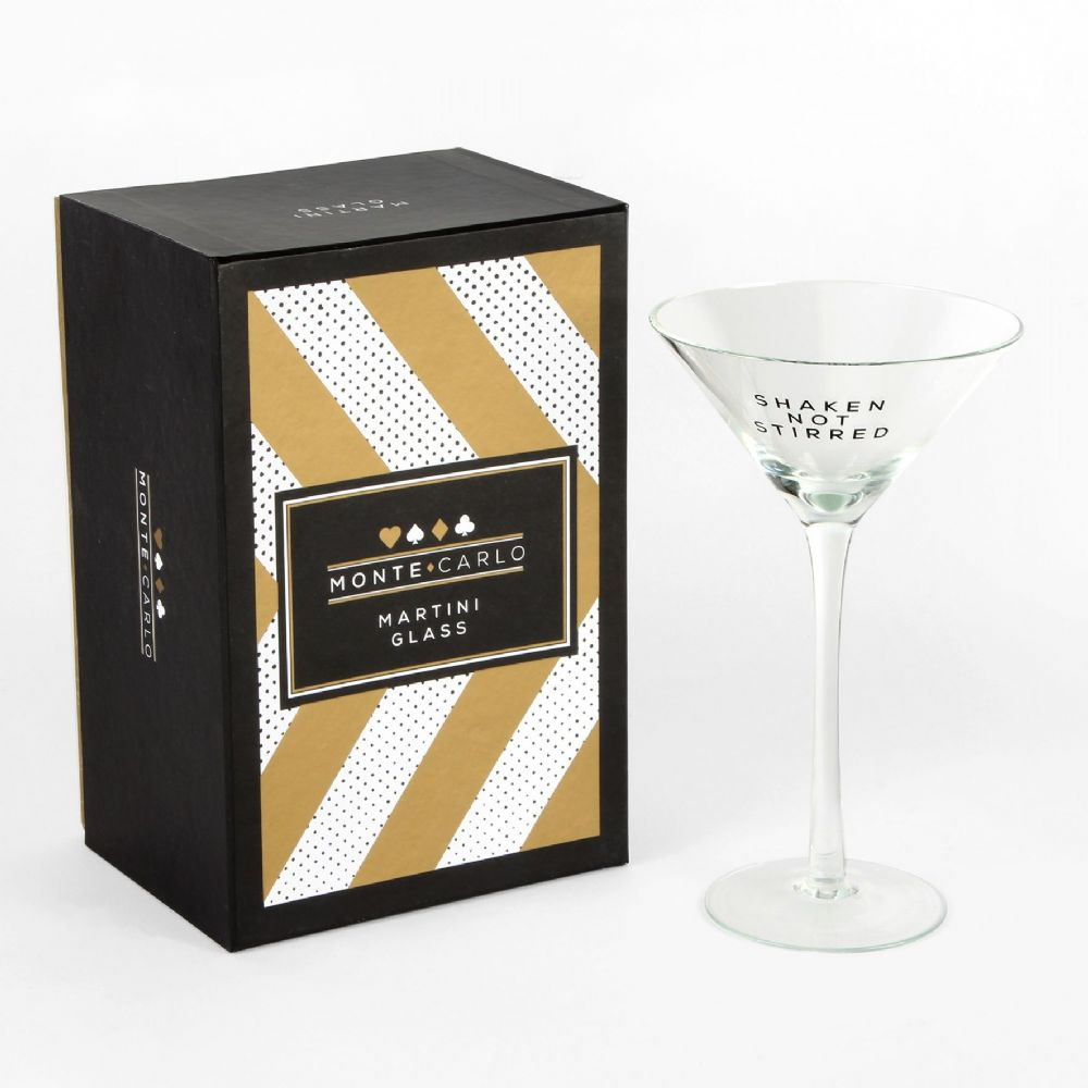 Martini Glass In gift box - James Bond, Casino, Poker, Playing card theme gift